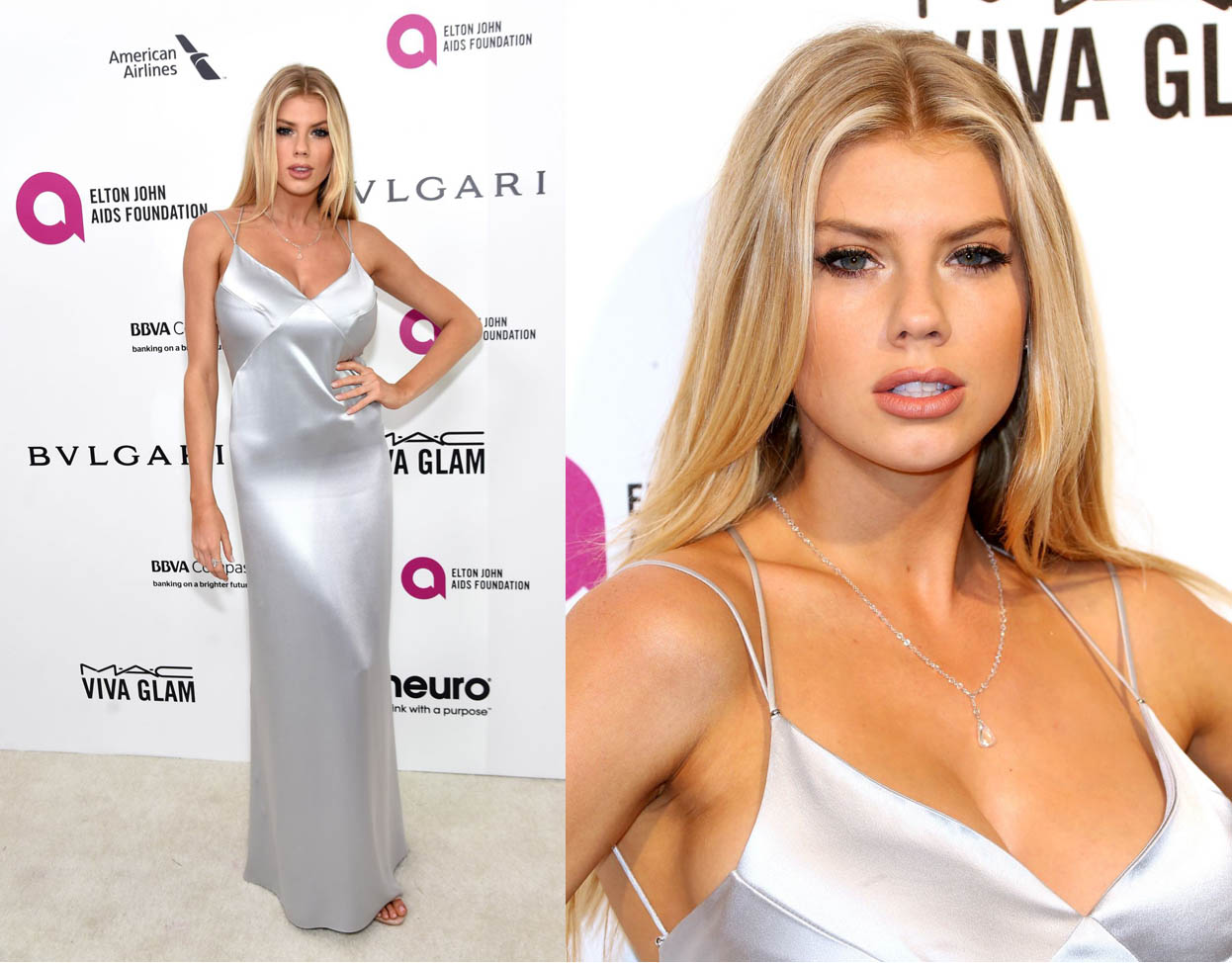 blonde silver dress red carpet